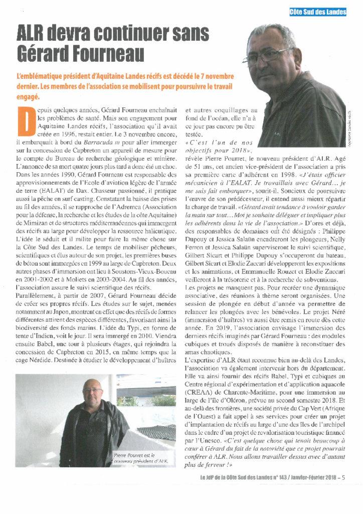 Journal des Propriétaires Côte Sud Landes article ALR janvier 18